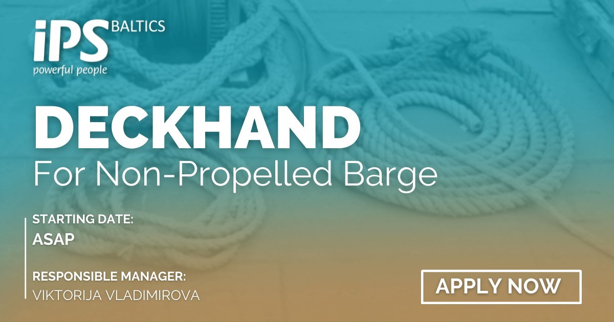 Deckhand for Non-propelled Barge ASAP