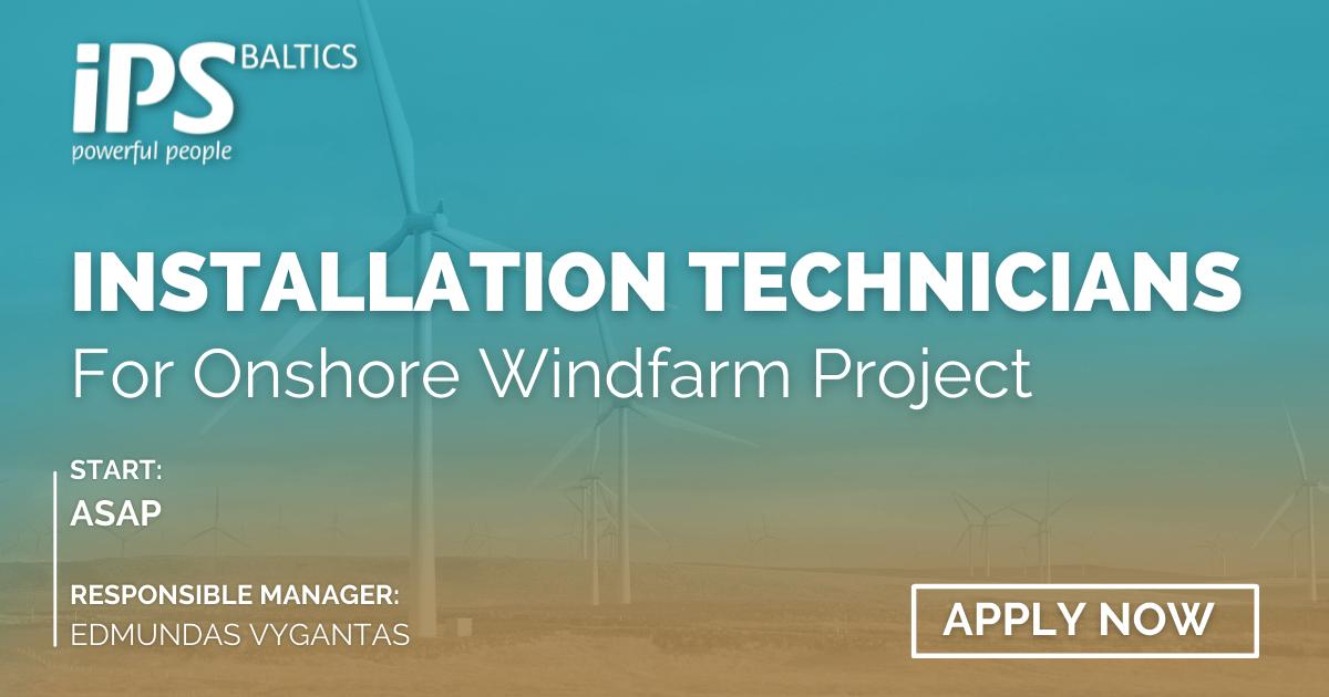Technicians for Onshore Windfarm Installation
