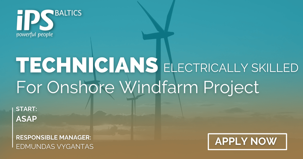 Electrically skilled Technicians for Onshore Windfarm